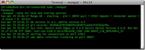 Screenshot of Terminal running mongod